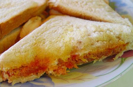 آموزش درست کردن ساندویچ نان تست با نخود