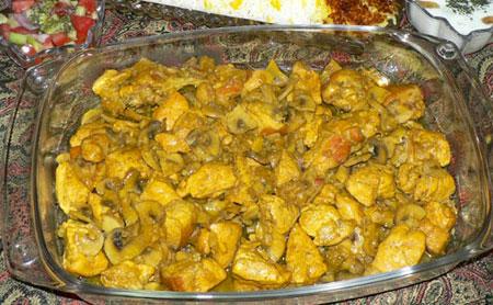 دستور پخت خوراک مرغ و قارچ رژیمی